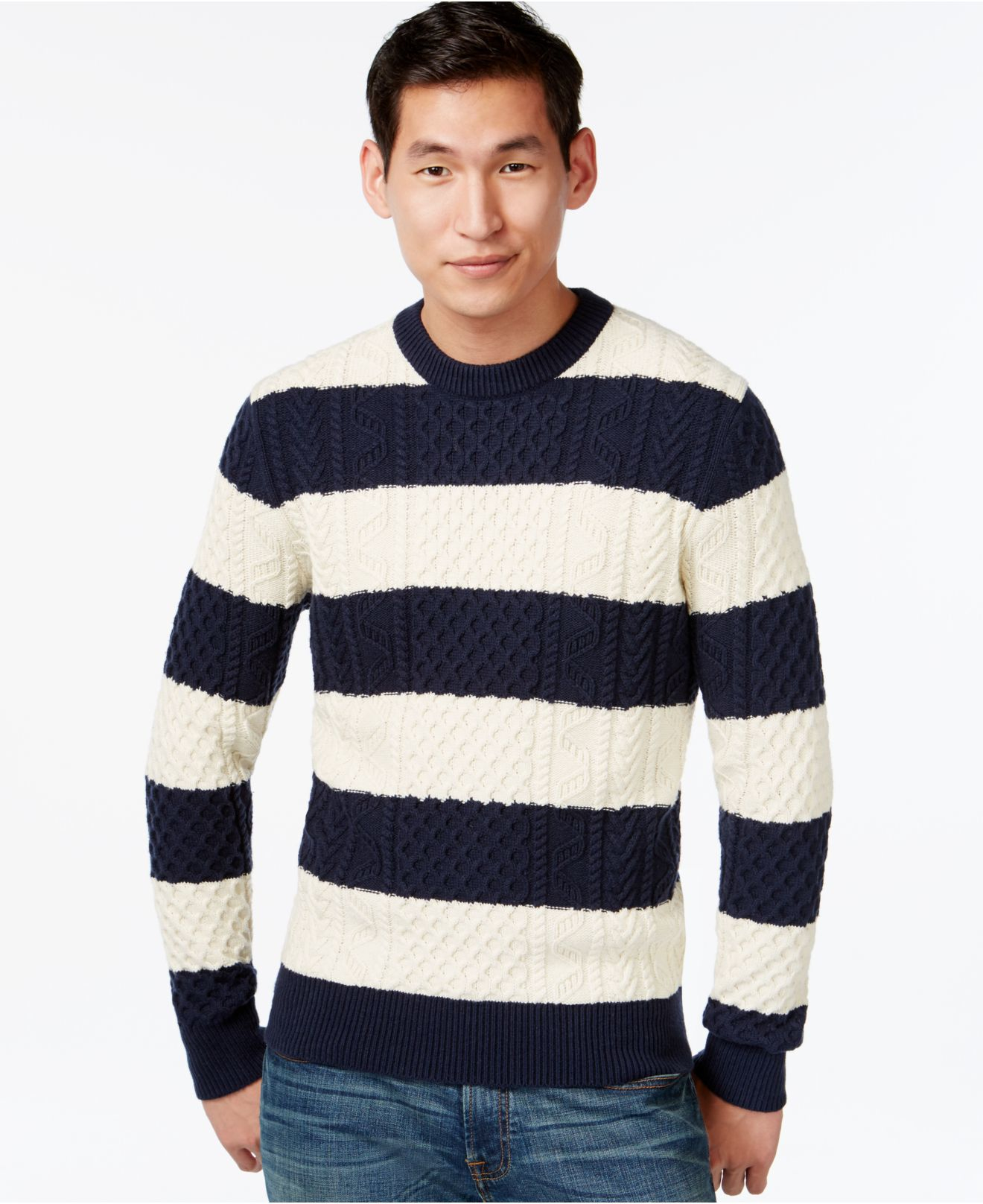 Tommy hilfiger Mikey Cable-knit Rugby-stripe Sweater in Blue for ...