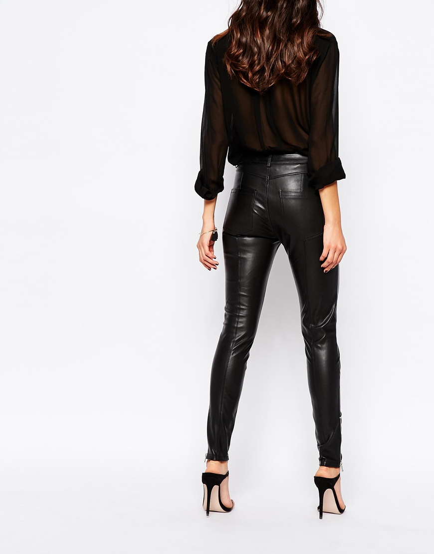 online for sale low priced how to find Mango Leather Look Pants in Black - Lyst