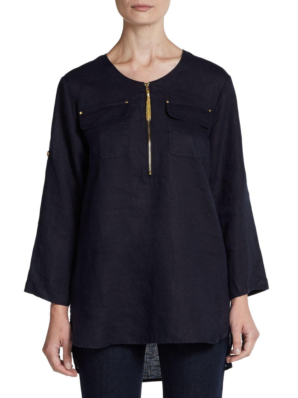 Ellen Tracy Roll Tab Sleeve Linen Tunic In Blue Lyst