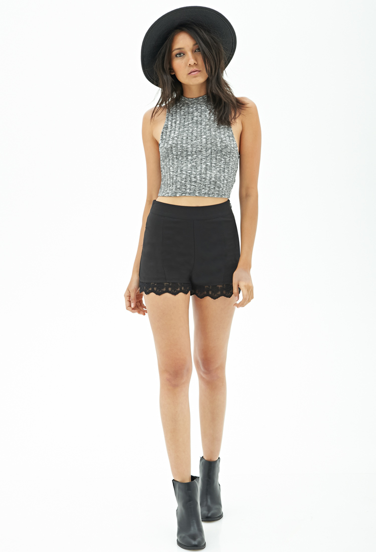 Forever 21 High-waisted Lace-trim Shorts in Black | Lyst