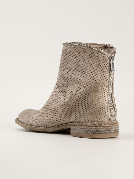 Officine Creative Perforated Ankle Boots In Gray Grey Lyst