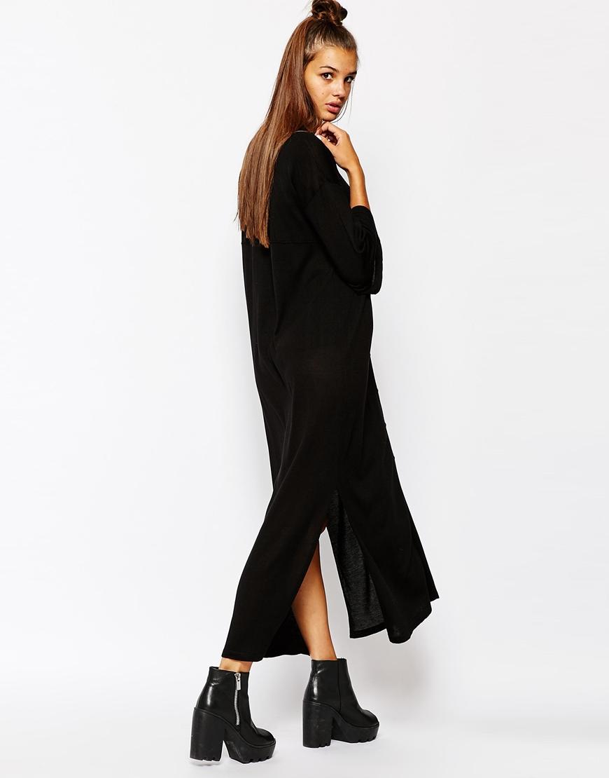 Lyst Monki Button Front Midi Dress With Side Split In Black