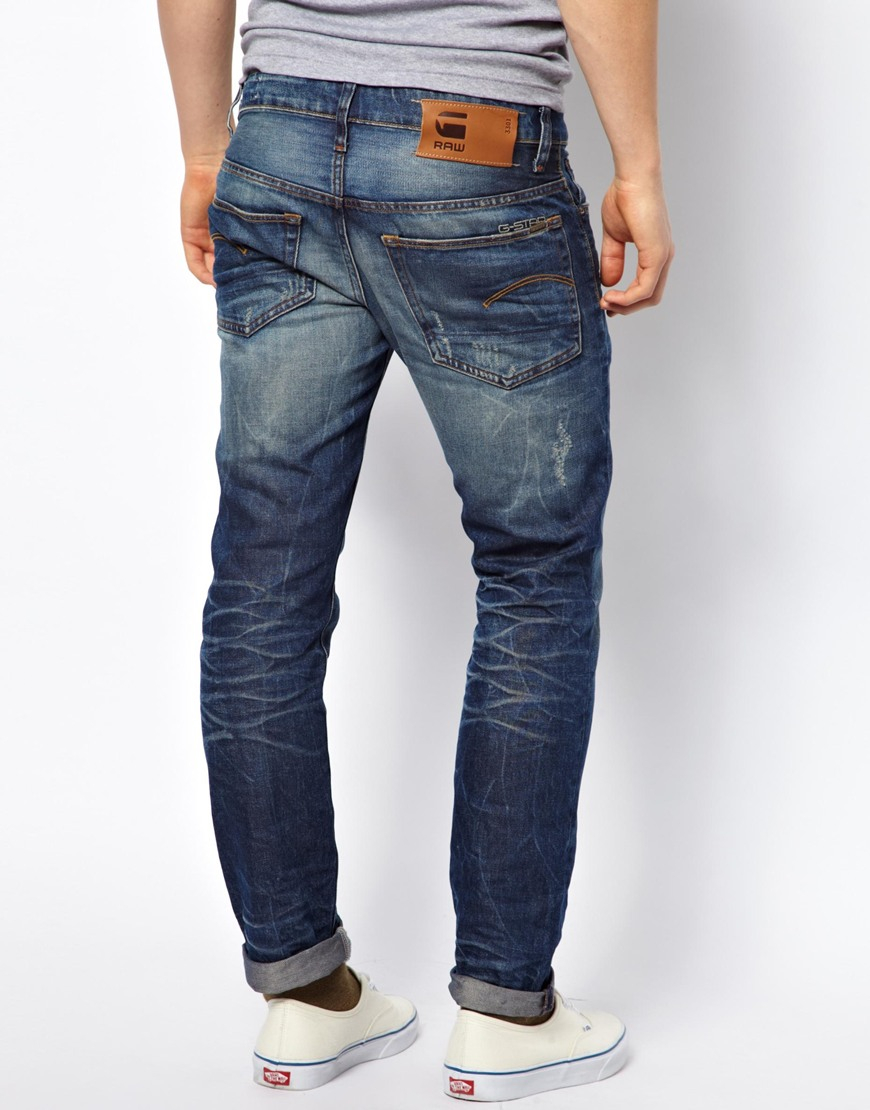 g star raw g star jeans low tapered lexicon medium aged in blue for men lyst. Black Bedroom Furniture Sets. Home Design Ideas