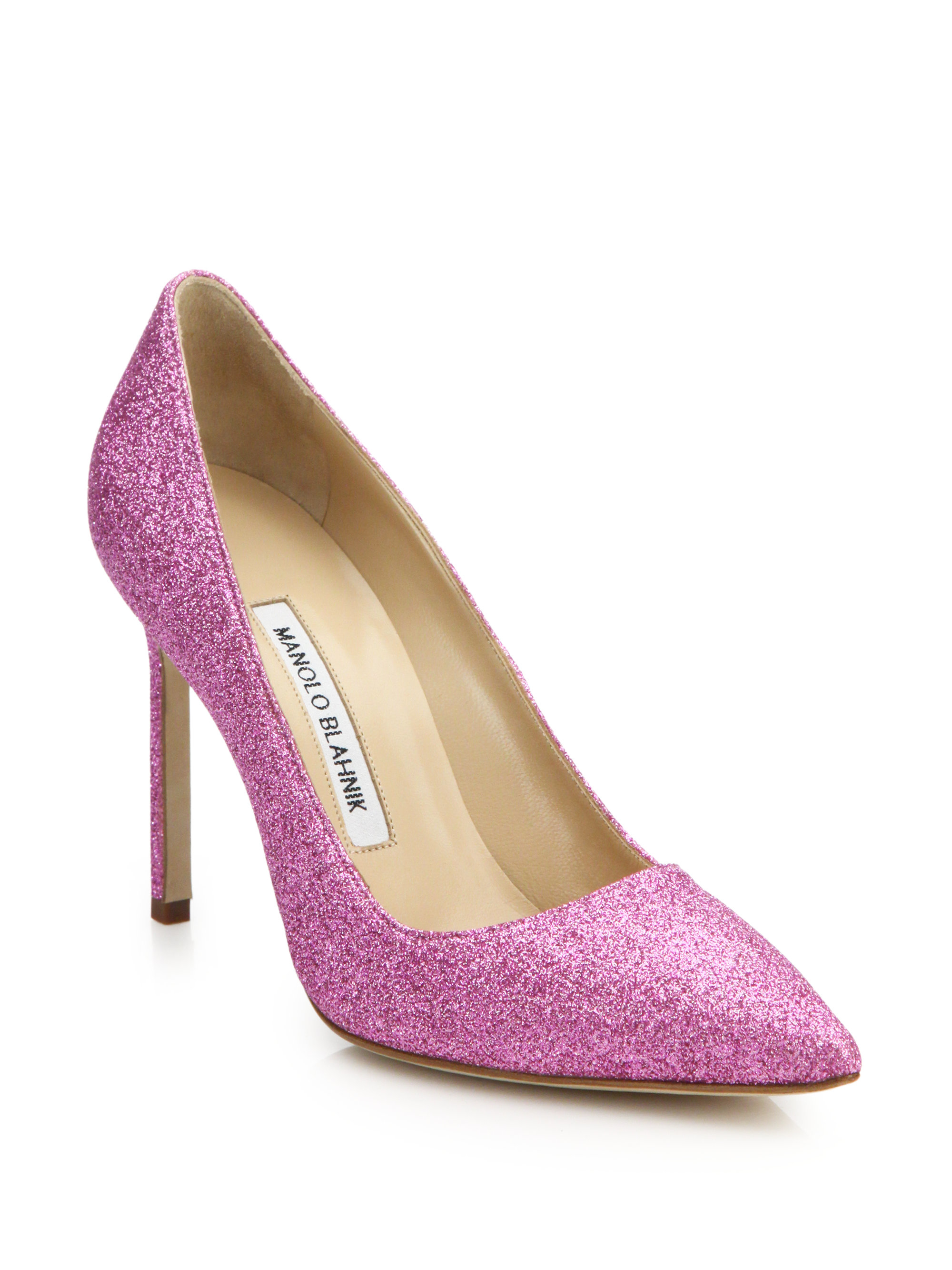 bad751dfb1 Manolo Blahnik Bb 105 Glitter Pumps in Pink - Lyst
