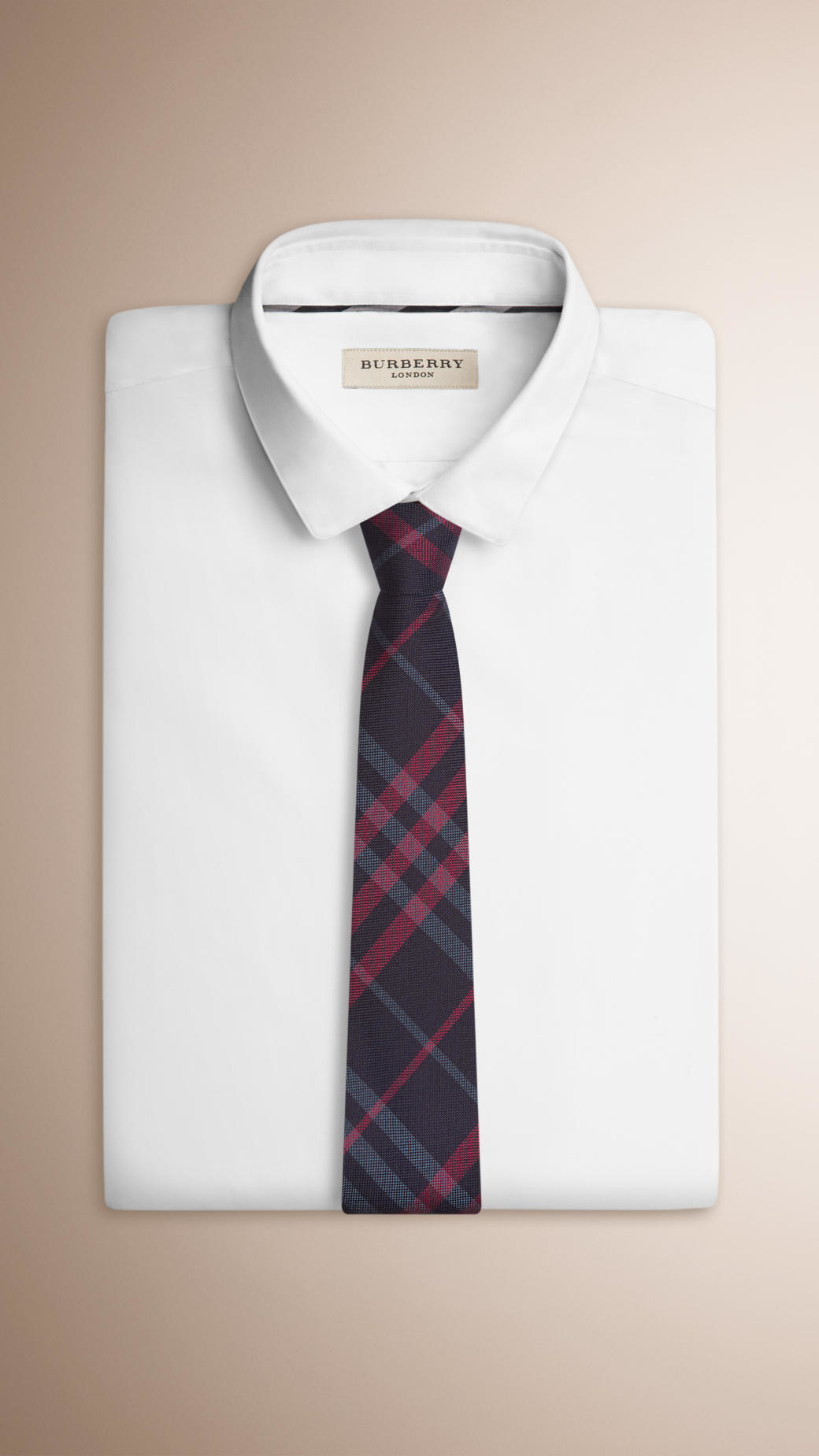 254a216d86ab ... where can i buy lyst burberry modern cut check silk tie in blue for men  966f1