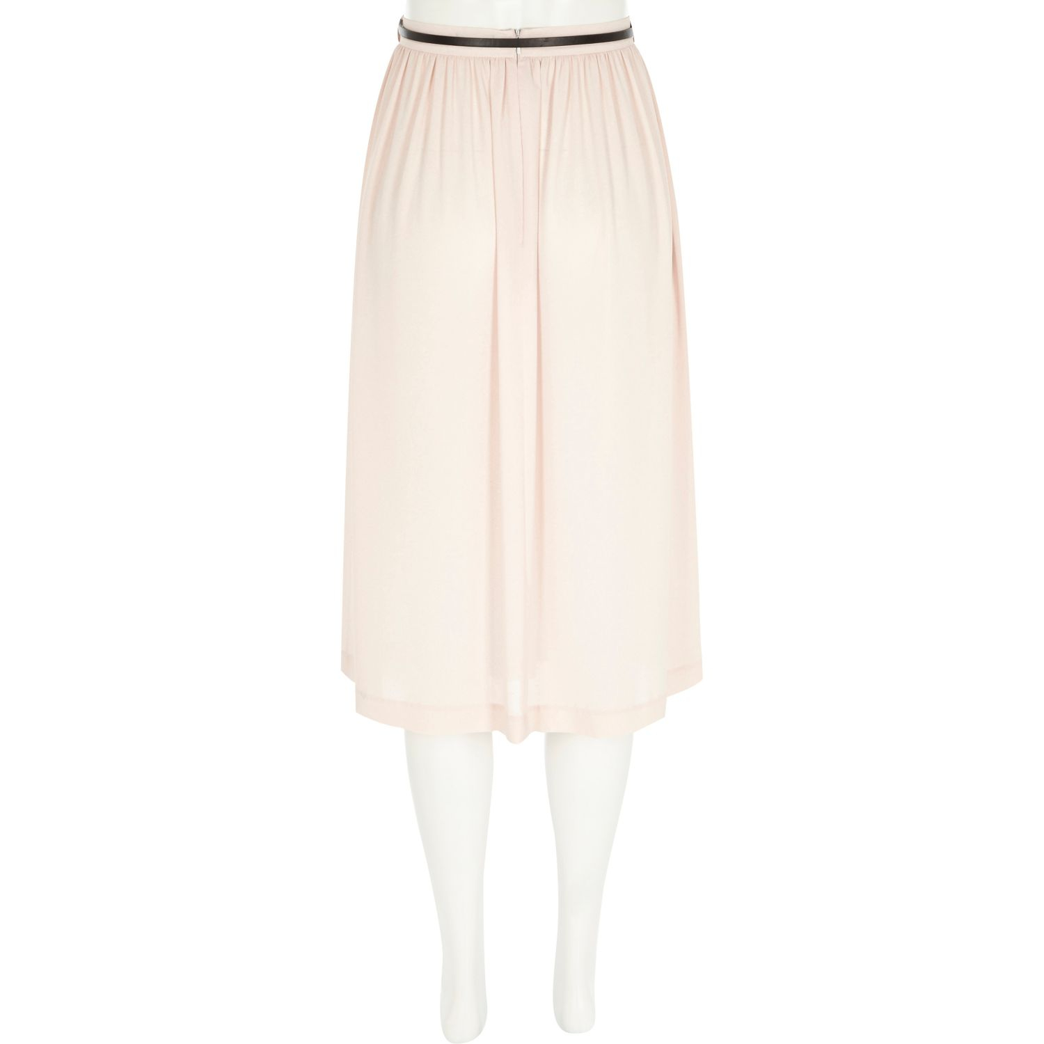 river island coral leather look a line skirt in pink