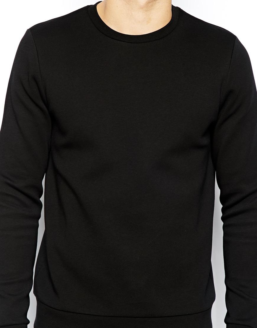 Lyst Asos Sweatshirt In Neoprene In Black For Men