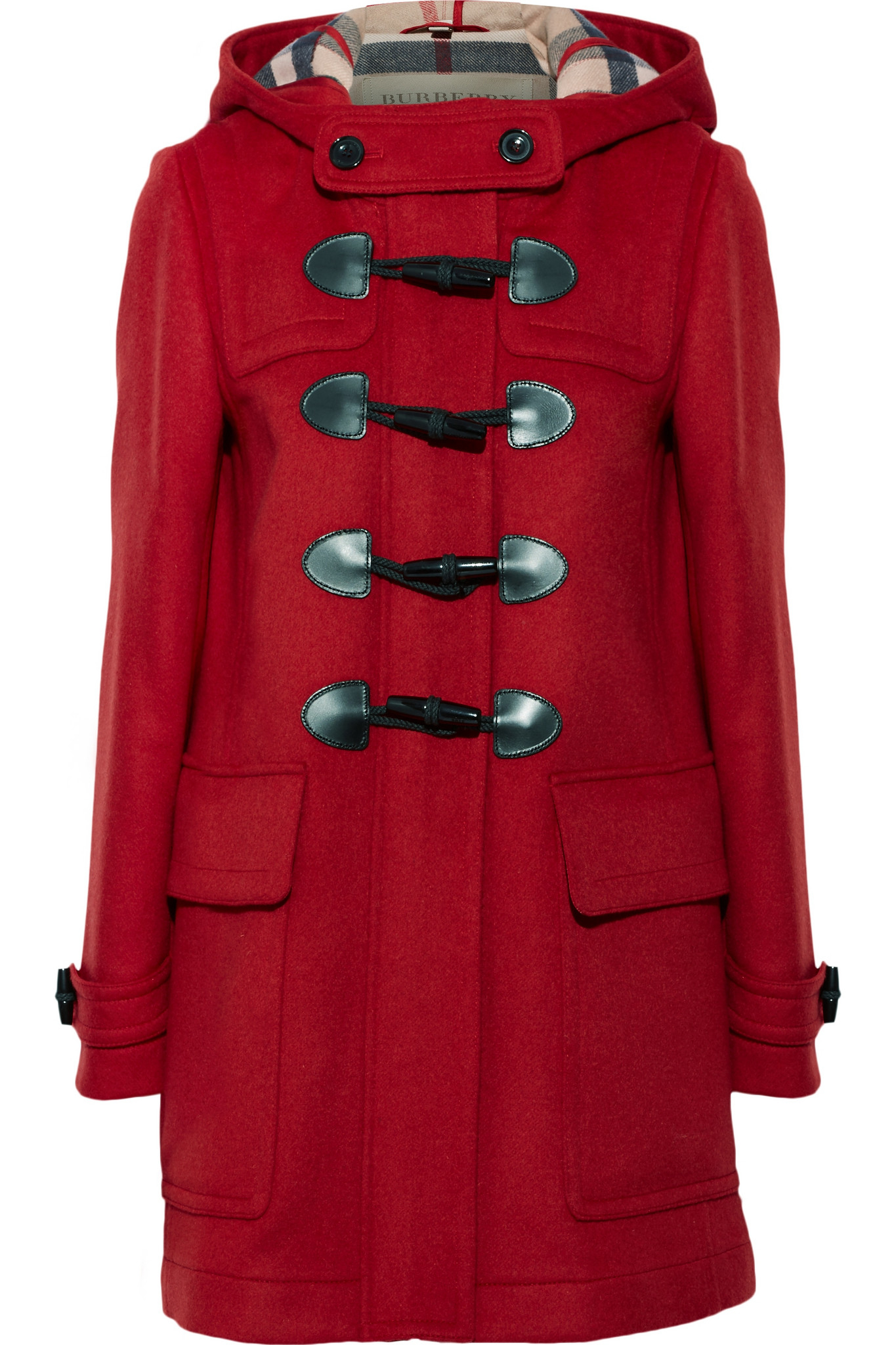 Burberry Hooded Wool-felt Duffle Coat in Red | Lyst