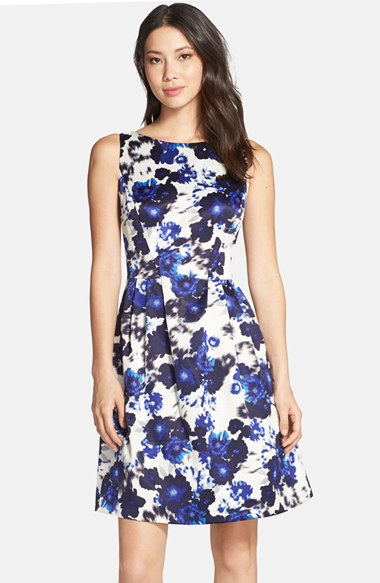 Lyst Vince Camuto Floral Print Fit Amp Flare Dress In Blue