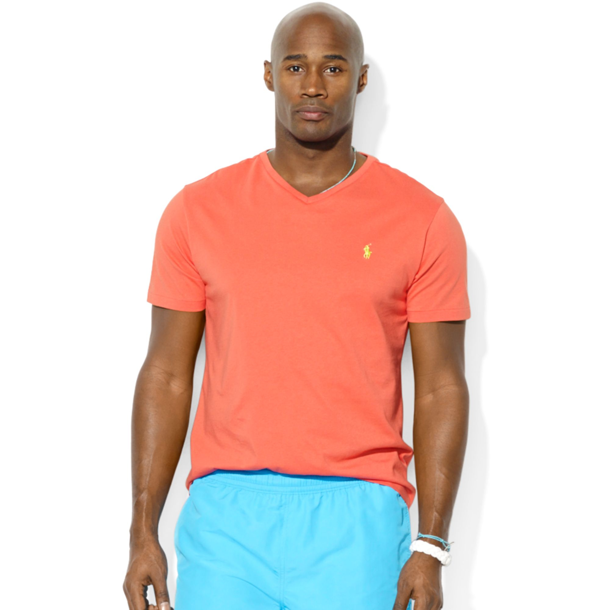 polo ralph lauren big and tall classic fit v neck short sleeve cotton jersey t shirt in red for. Black Bedroom Furniture Sets. Home Design Ideas