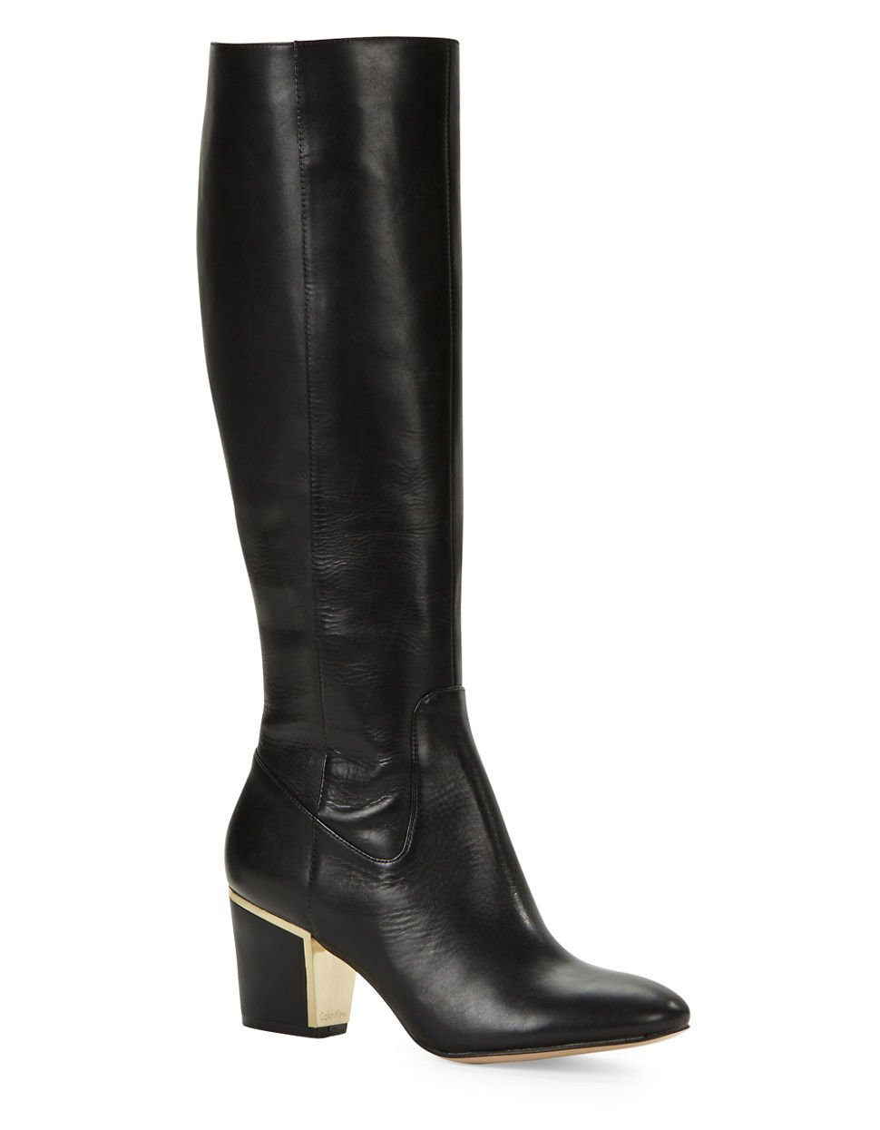 Calvin Klein Keana Leather Boots In Black Lyst