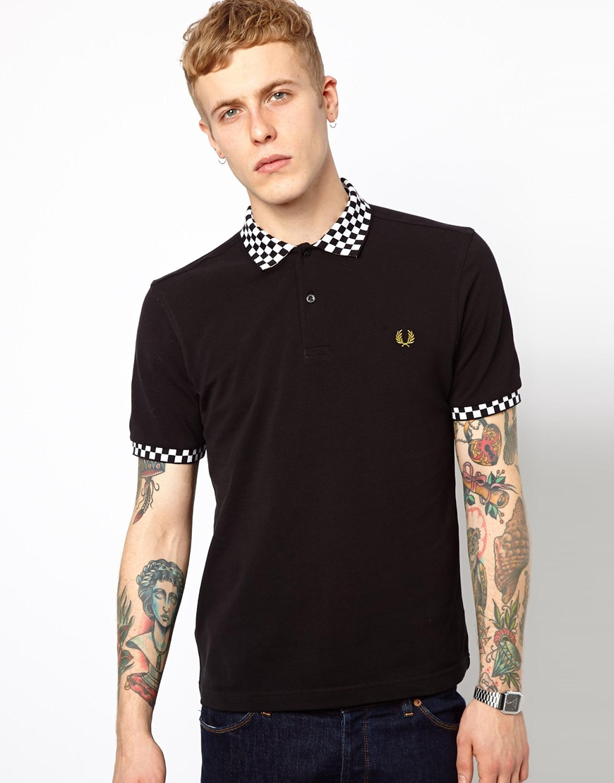 fred perry polo with checkerboard collar in black for men. Black Bedroom Furniture Sets. Home Design Ideas