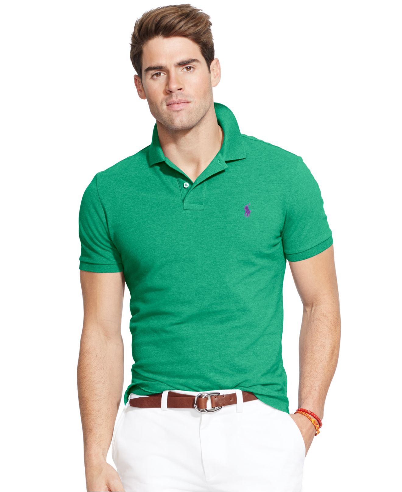 541a0f308aa3b ... top quality lyst polo ralph lauren custom fit mesh polo shirt in green  for men 8012f