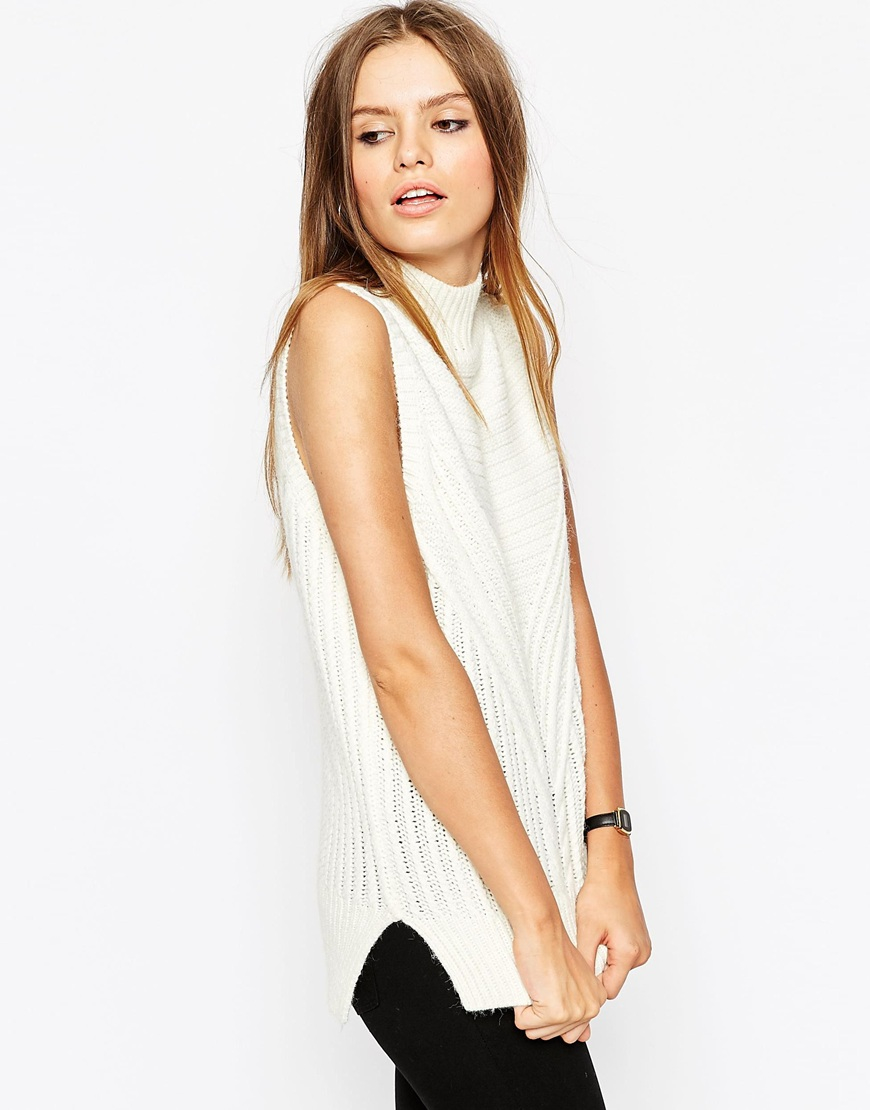 af3826adc66c2 ASOS Sleeveless Jumper In Chunky Knit With High Neck - Cream in ...