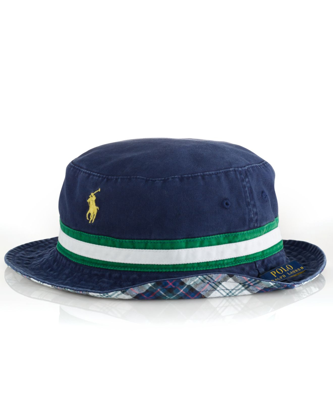 polo ralph lauren reversible tartan bucket hat in blue for