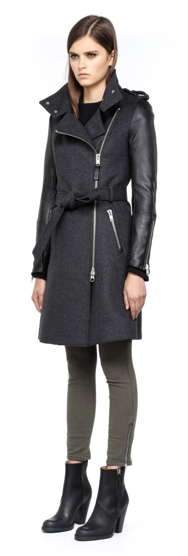 Mackage Dale-F4 Long Charcoal Winter Wool Coat With Leather ...