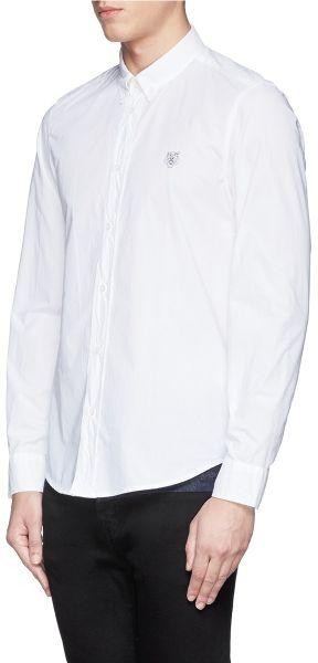 Kenzo tiger logo button down collar shirt in white for men for White button down collar shirt