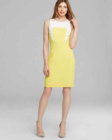 Rachel Roy Color Block Sheath Dress In Yellow Limoncello