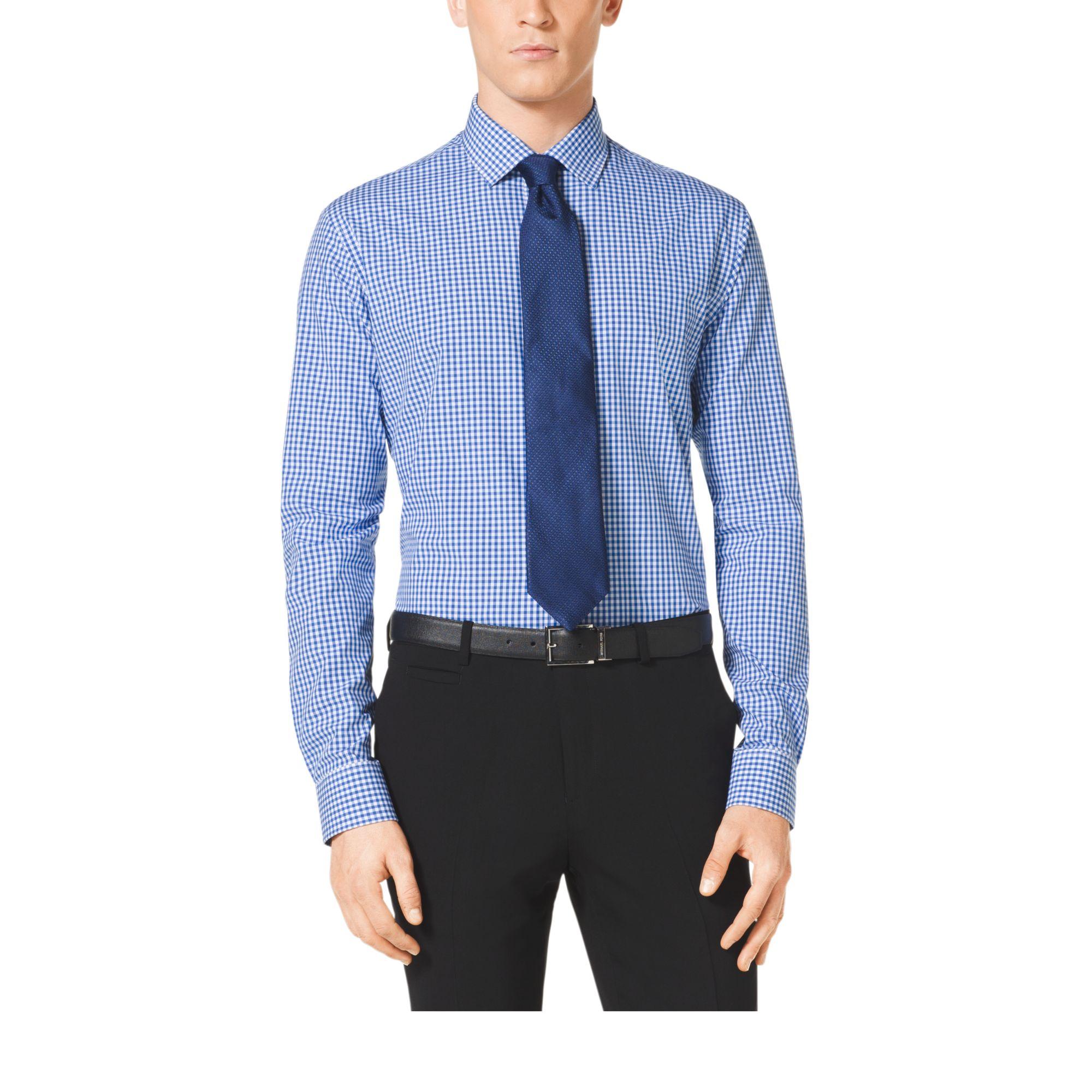 michael kors gingham cotton shirt in blue for men lyst. Black Bedroom Furniture Sets. Home Design Ideas