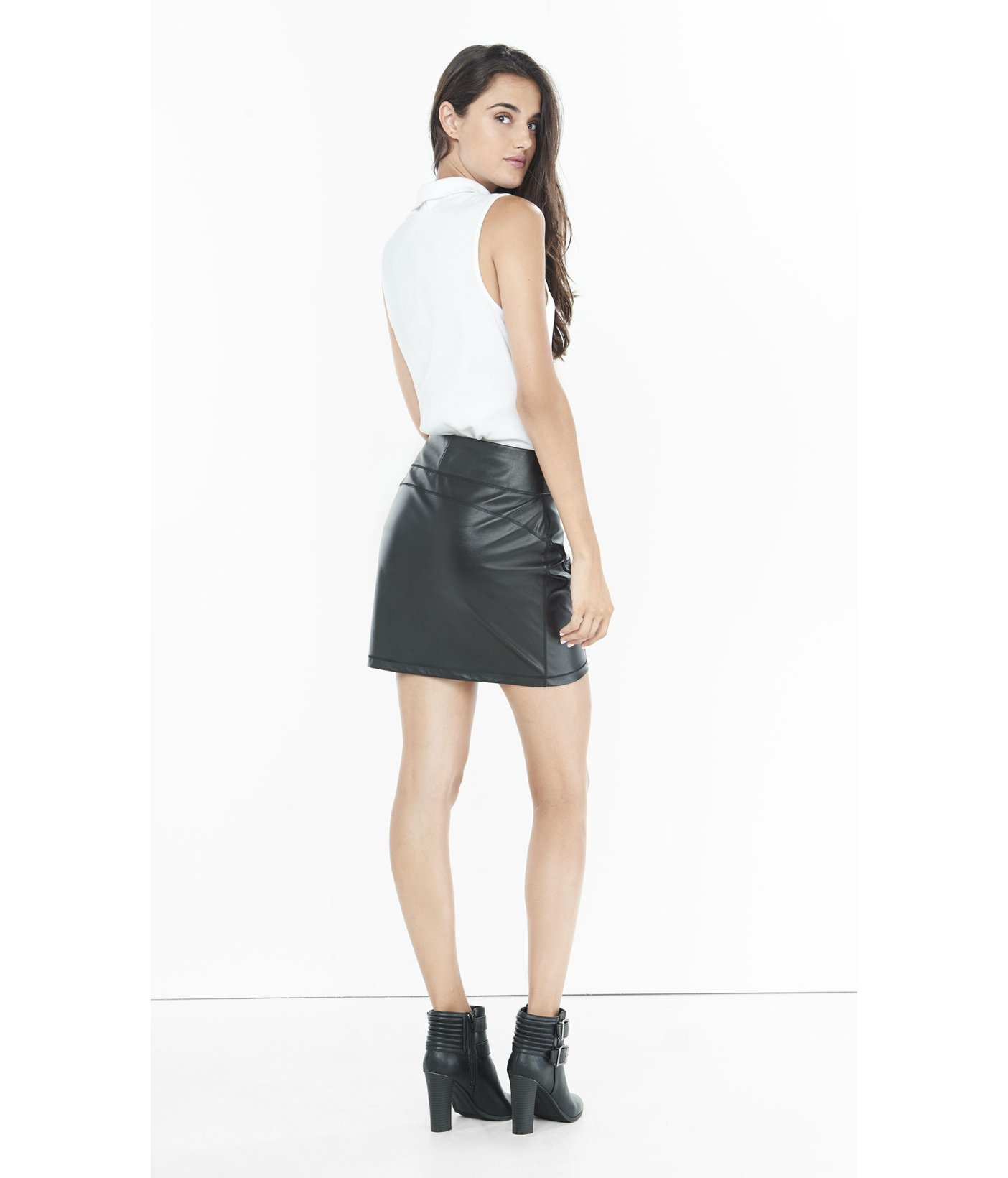 Express (minus The) Leather High Waisted Mini Skirt in Black | Lyst
