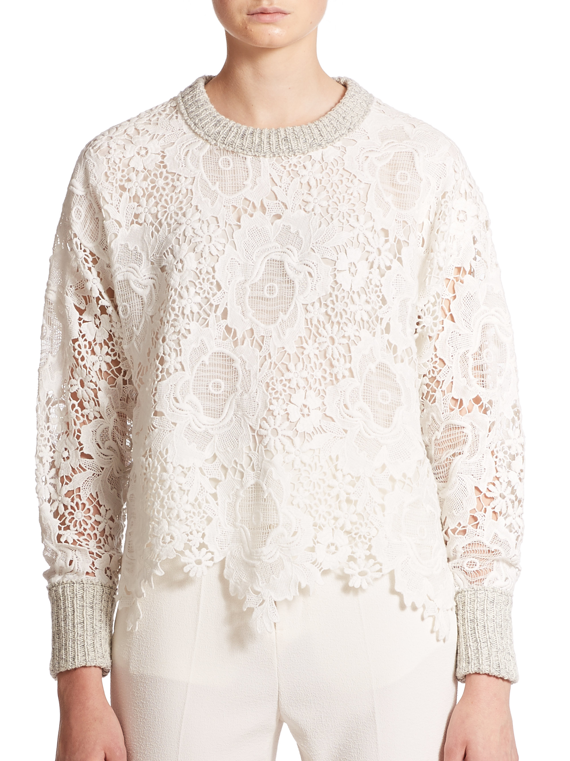 See by chloé Lace & Knit Sweater in Natural | Lyst