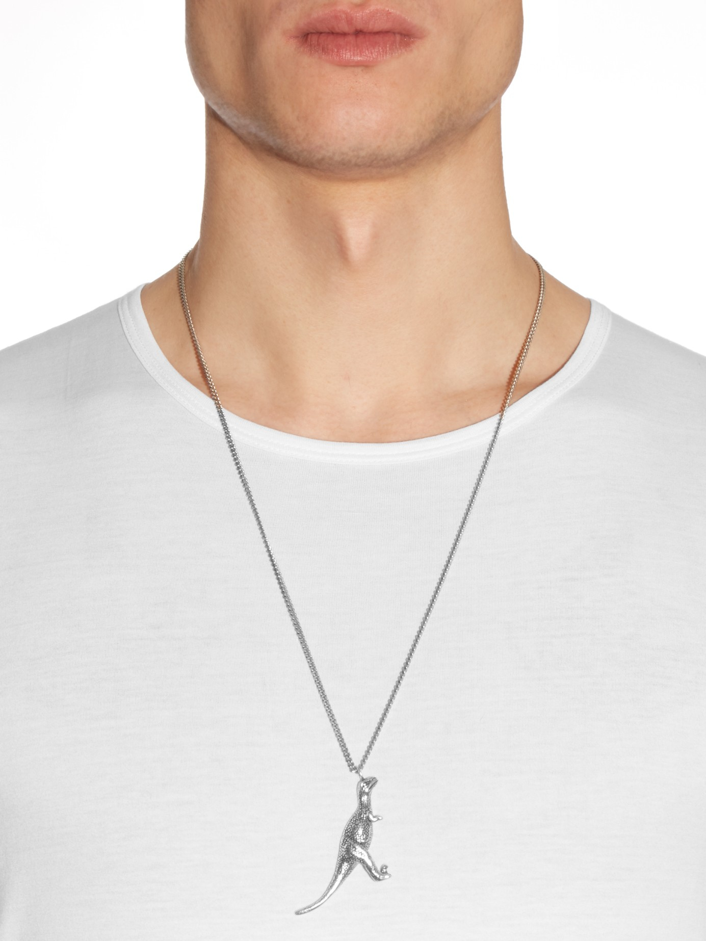 e693a479cdd Saint Laurent Dinosaur Necklace in Metallic for Men - Lyst
