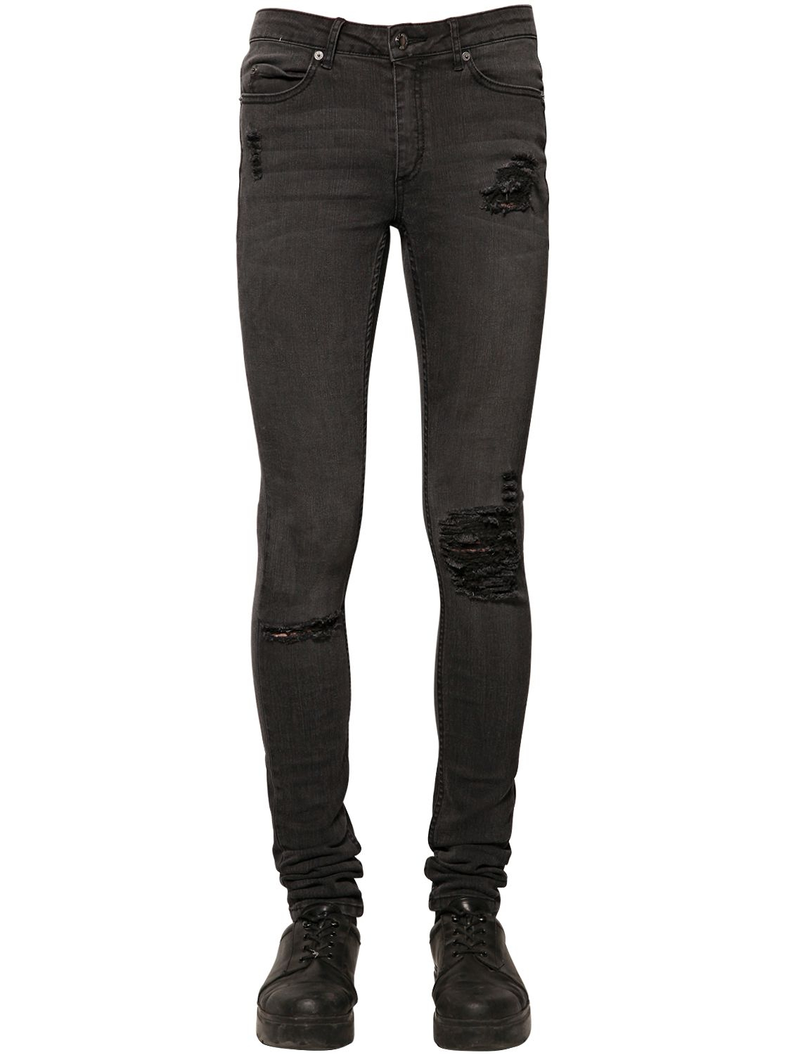 Cheap monday 15.5cm Washed Stretch Cotton Denim Jeans in Black for