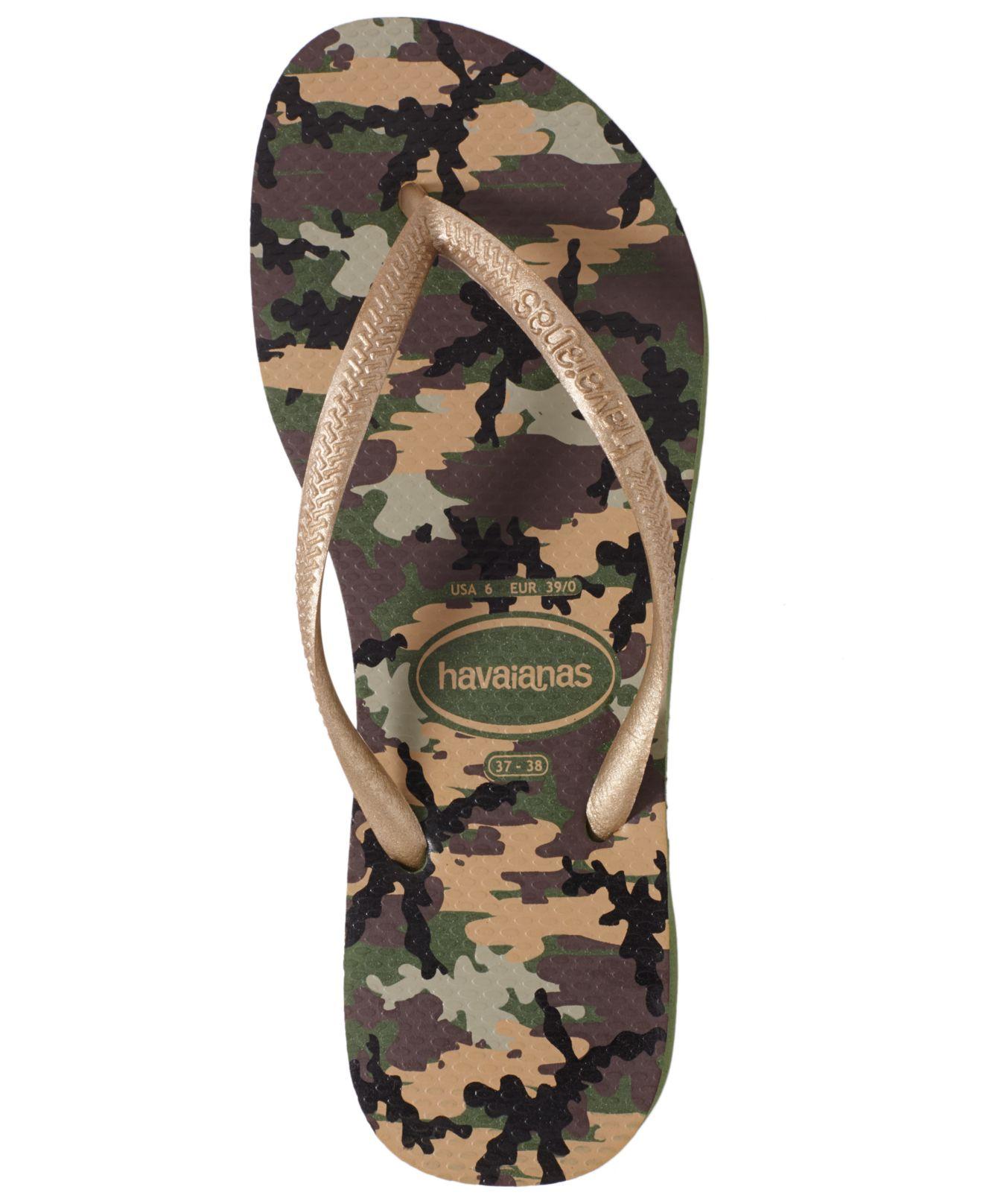 d12384c40ba Lyst - Havaianas Slim Camo Print Flip Flops in Green