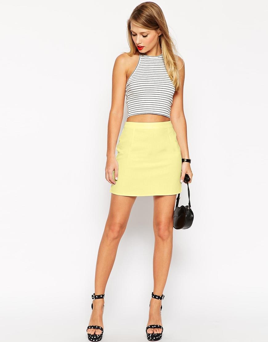Asos A-line Linen Mini Skirt in Yellow | Lyst