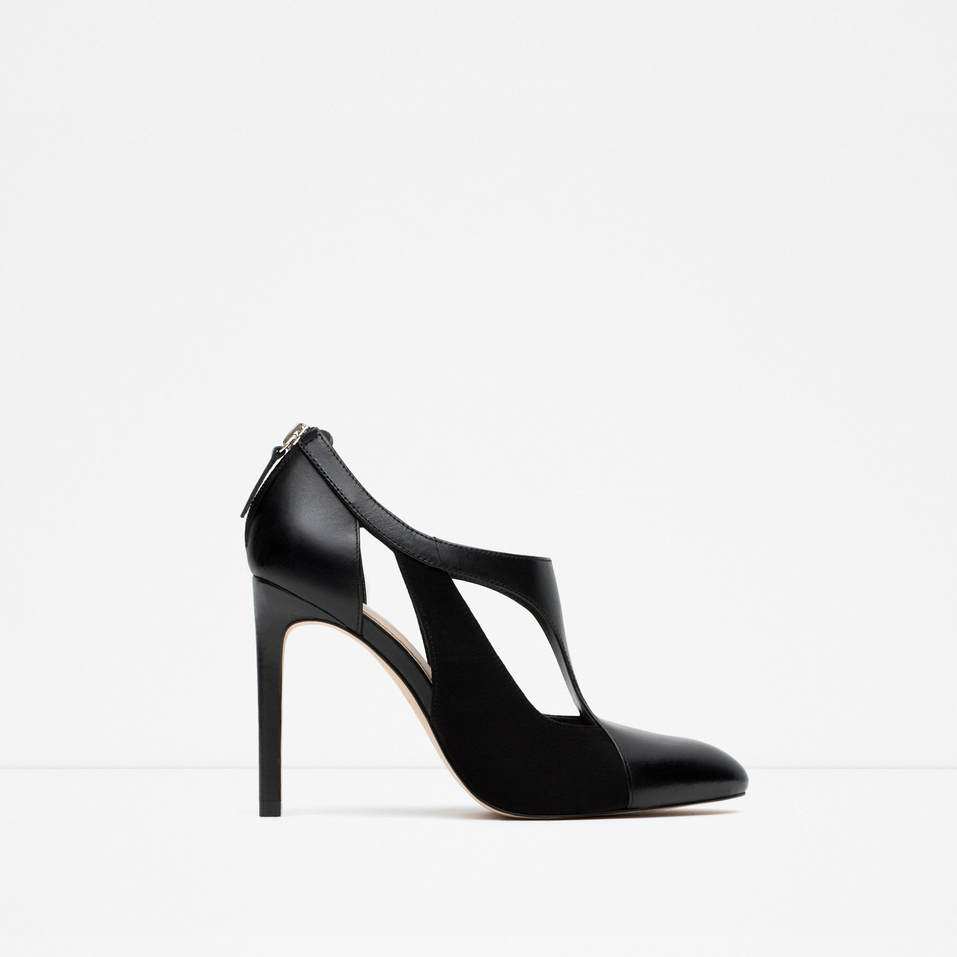 zara combined leather high heel shoes in black lyst