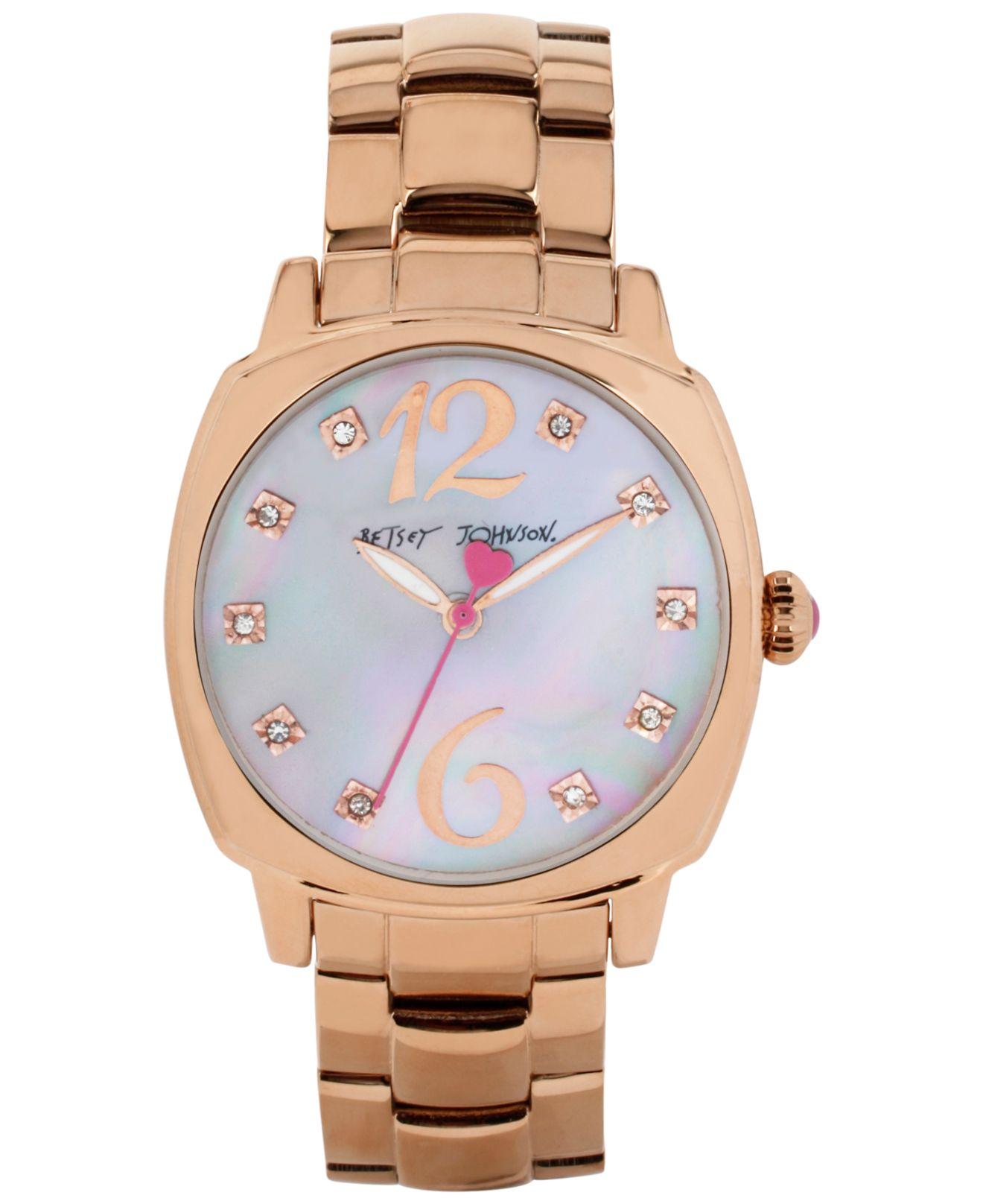 Lyst Betsey Johnson Womens Rose Gold Tone Bracelet Watch 41mm Fossil Idealist Silver Es4194 Gallery