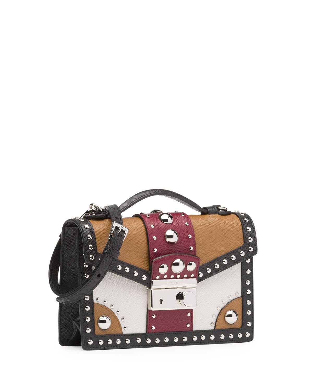prada fuchsia bag - Prada Tricolor Studded Saffiano Sound Bag in Brown (Brown/Red ...