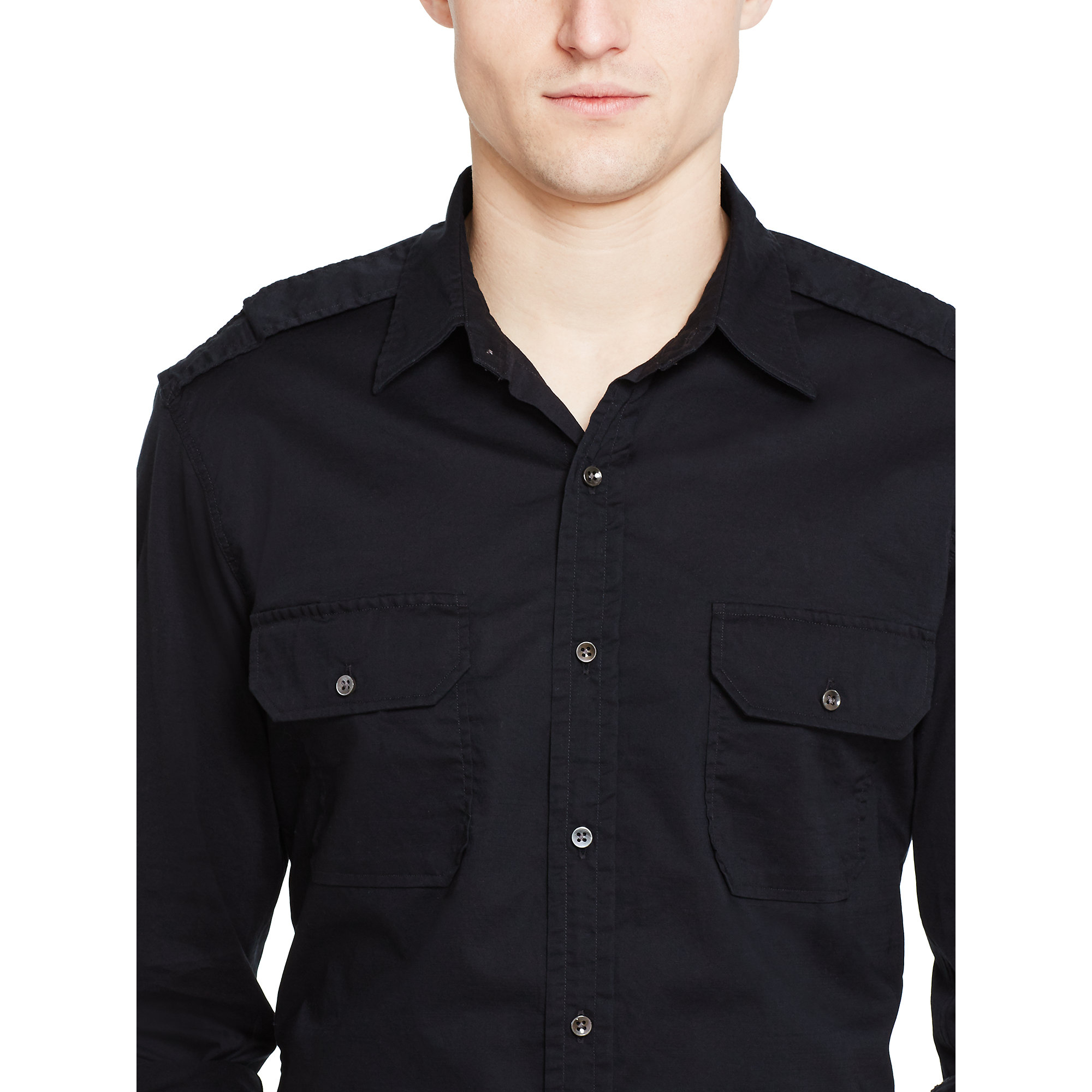 1e189fad ... top quality lyst ralph lauren black label cotton military shirt in black  for men 6dae4 880a0
