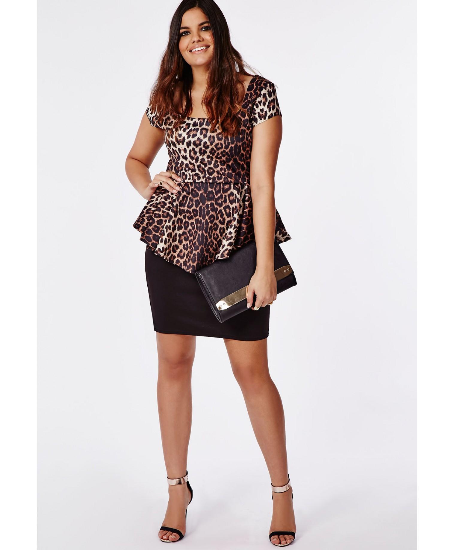Missguided Plus Size Leopard Print Peplum Dress   Lyst