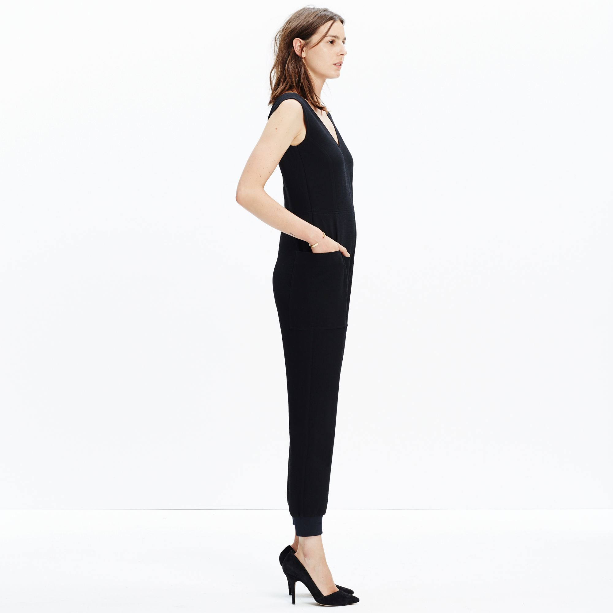 e058a55233f Lyst - Madewell Kent Sleeveless Jumpsuit in Black