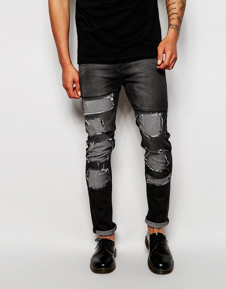 cab518e01ad Cheap Monday Jeans Tight Skinny Fit Innocence Black Extreme Distress ...