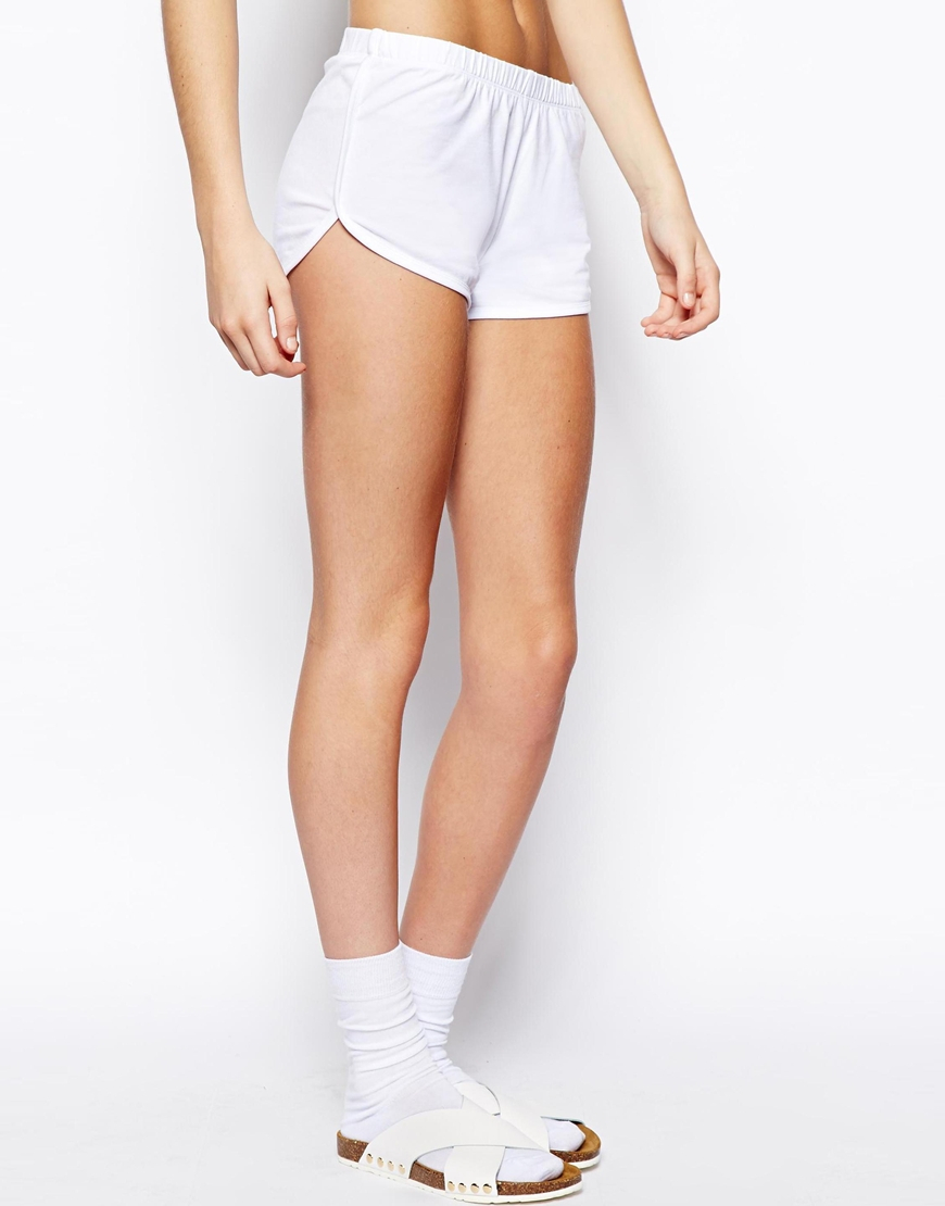 Asos Basic Cotton Shorts in White | Lyst