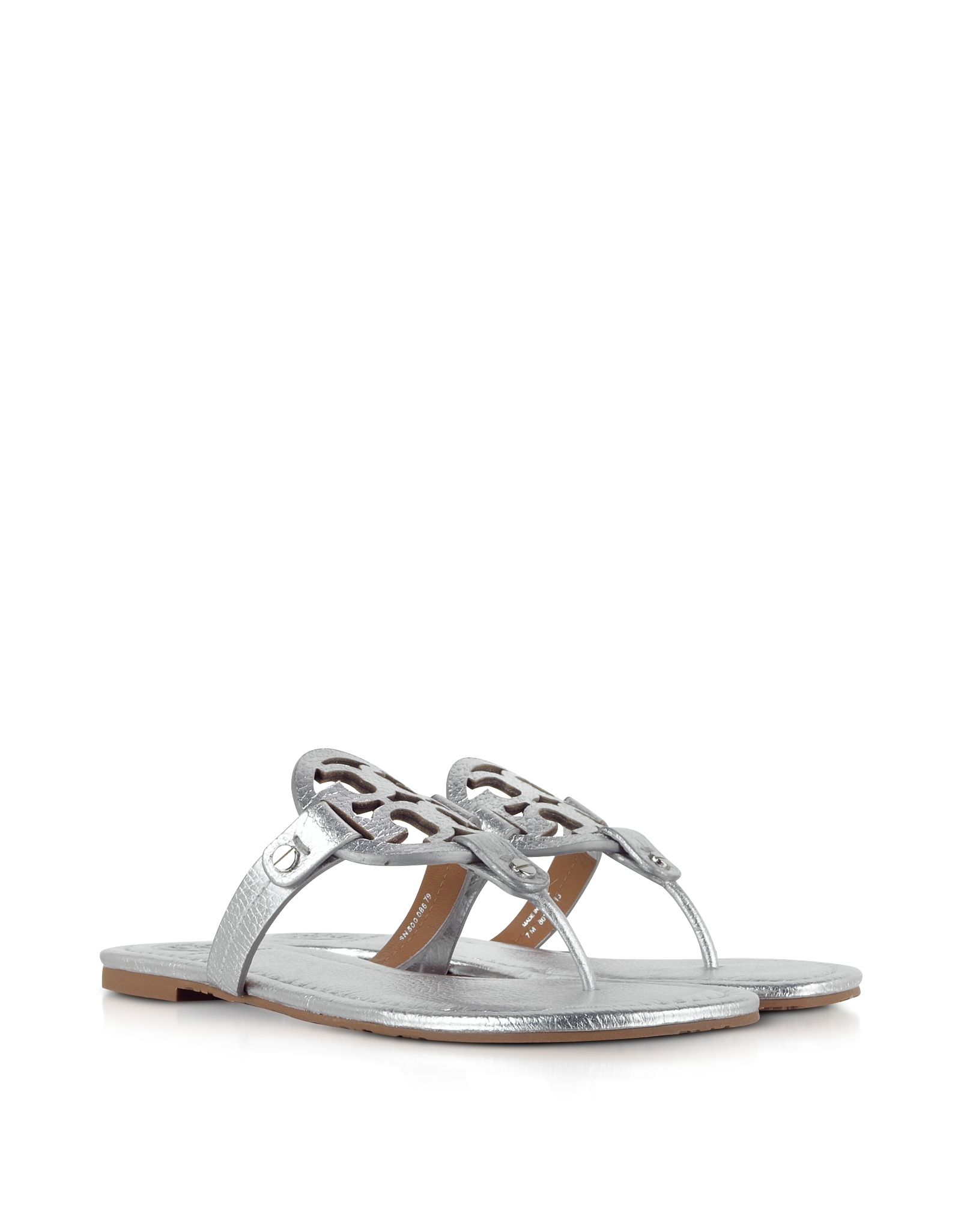 35fc830767ec6 Lyst - Tory Burch Miller Metallic Silver Leather Sandal in Metallic