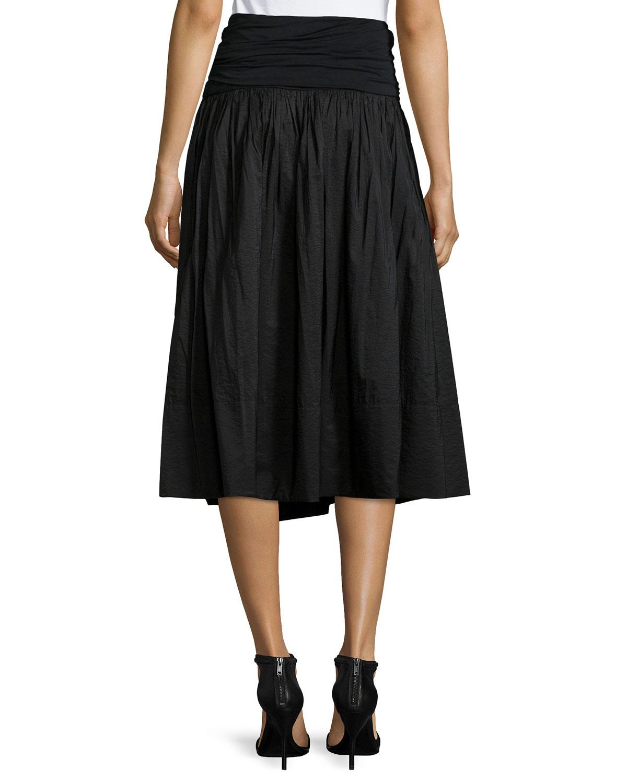 donna karan new york paper cotton a line skirt w jersey