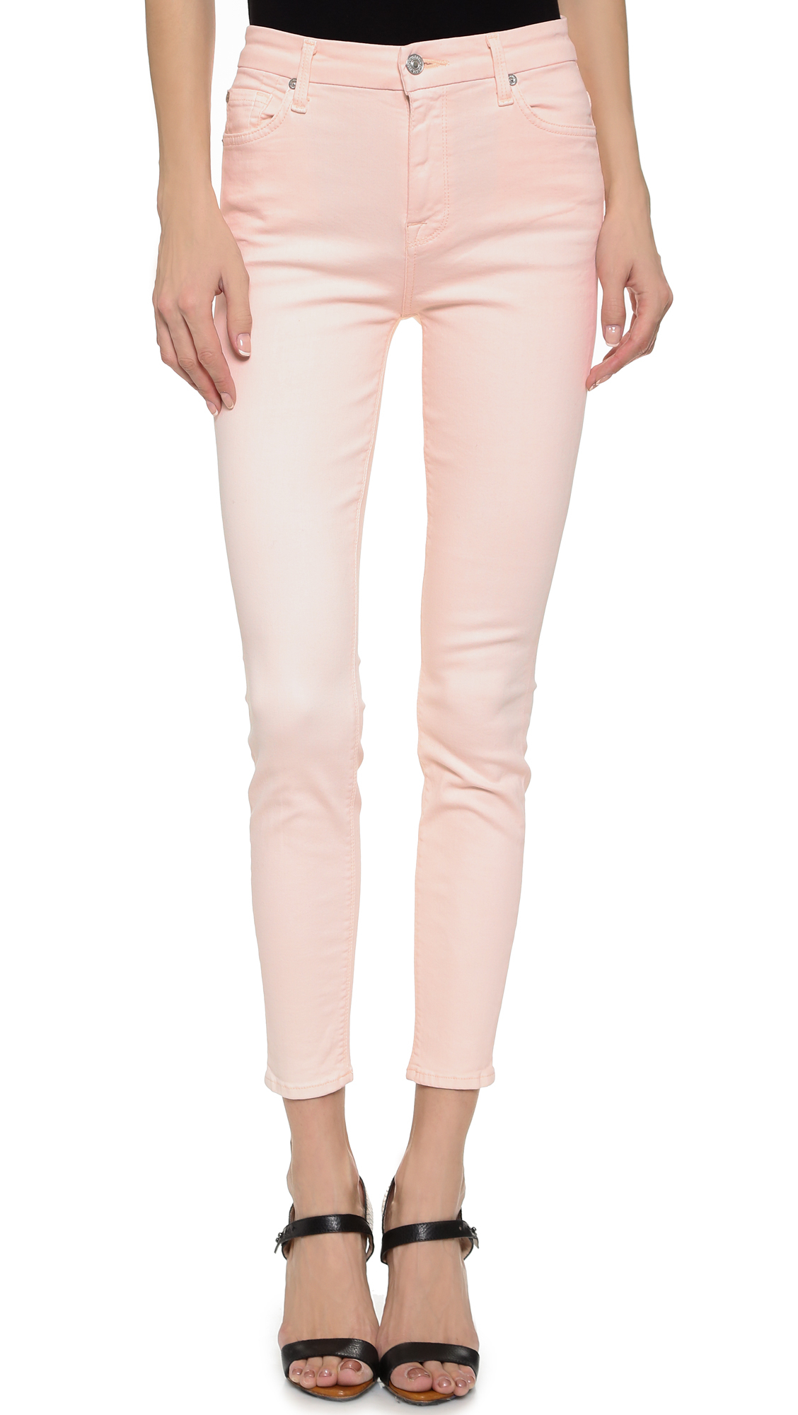 High Waisted Pink Skinny Jeans