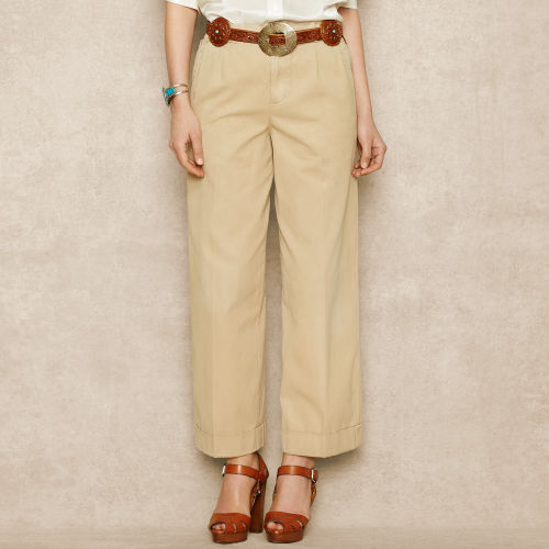 Ralph lauren blue label Wide Leg Chino Pant in Natural | Lyst