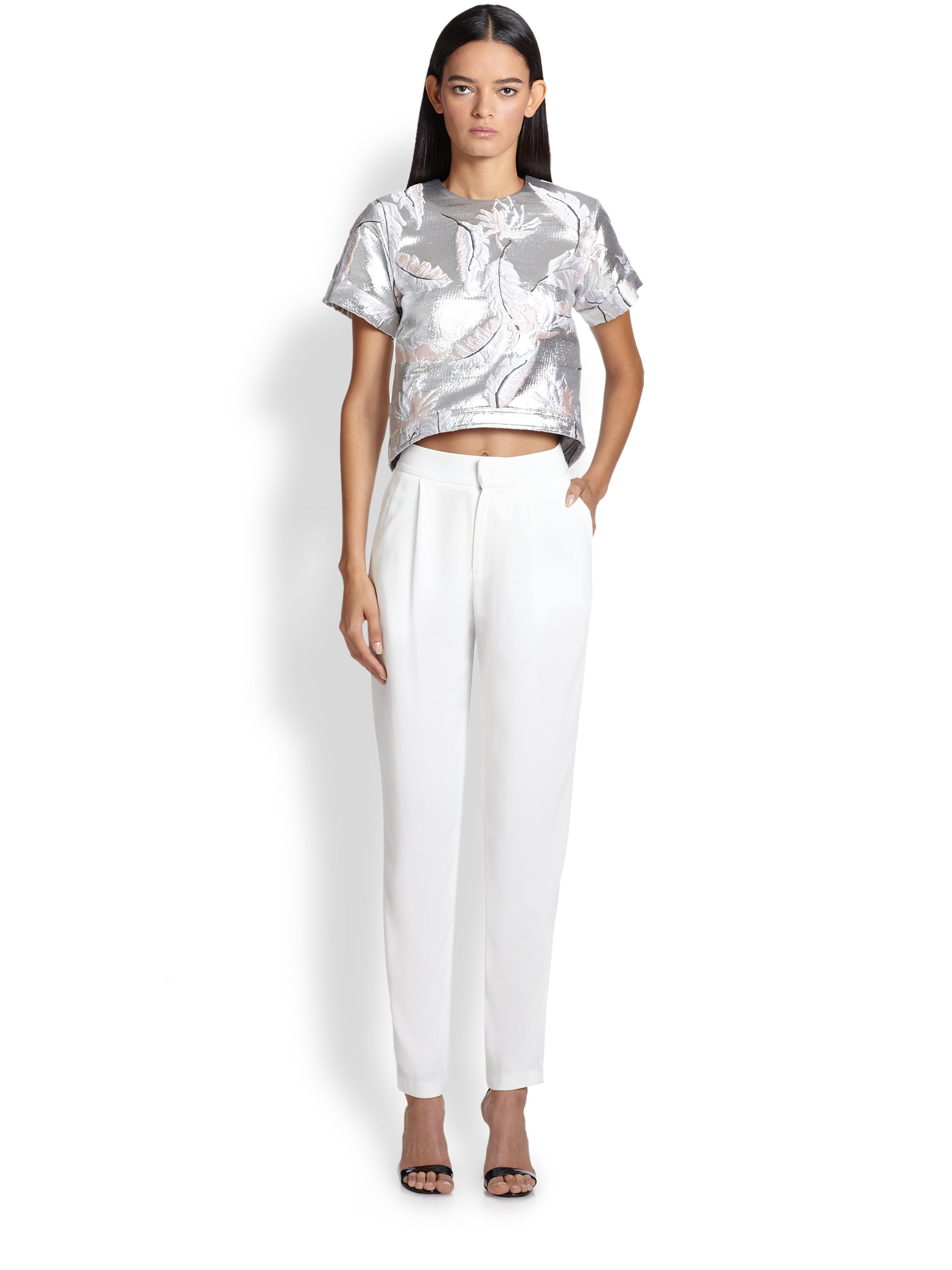 Lyst adam lippes embroidered jacquard top in metallic for Adam lippes women s long sleeve vee t shirt