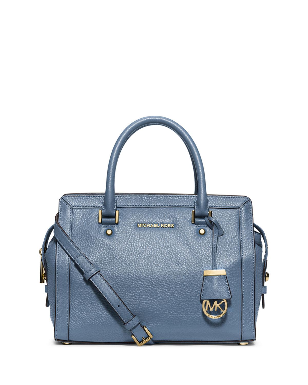 michael michael kors collins medium satchel bag in blue lyst. Black Bedroom Furniture Sets. Home Design Ideas