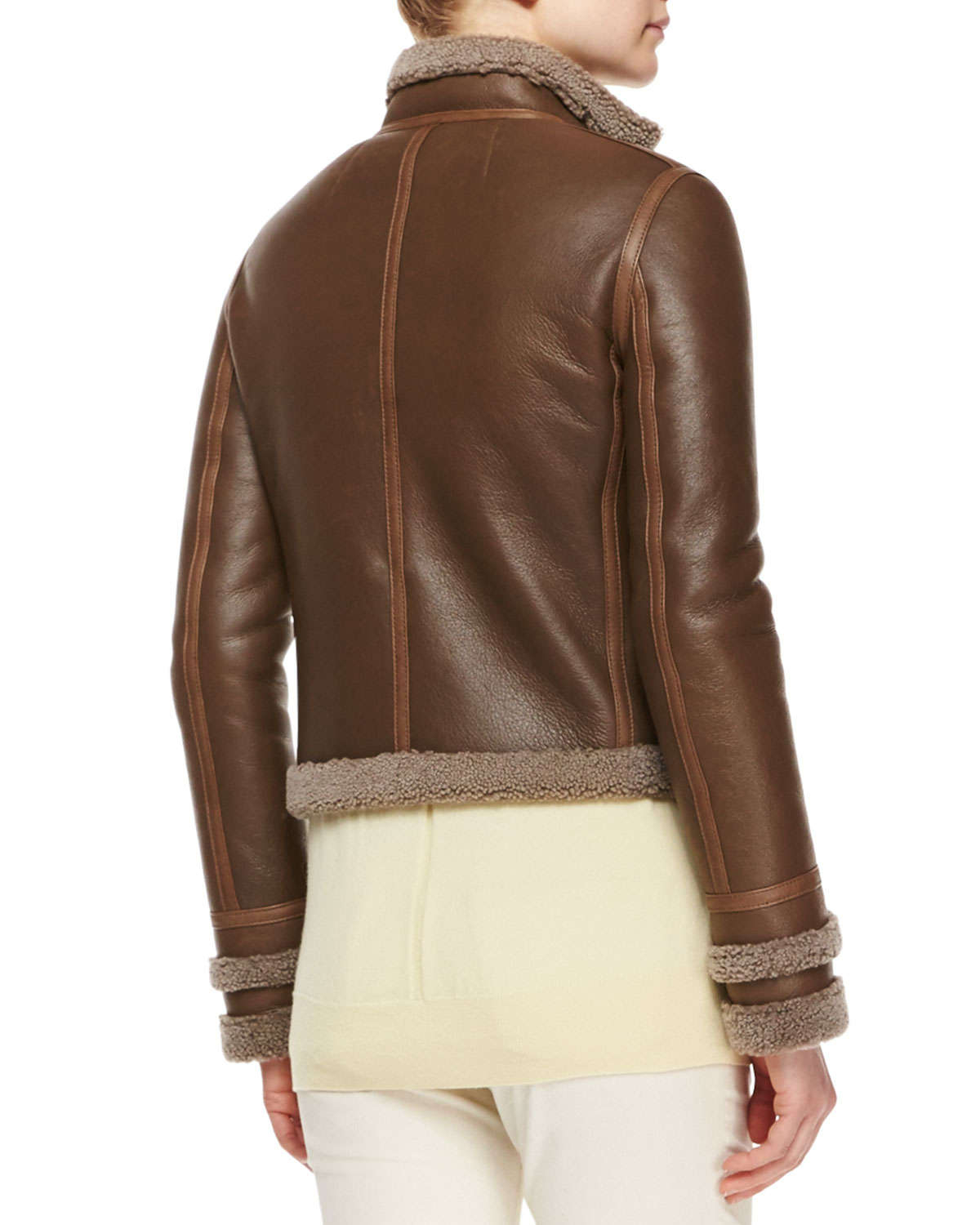 The Row Shearling Fur Lined Leather Jacket In Brown Lyst