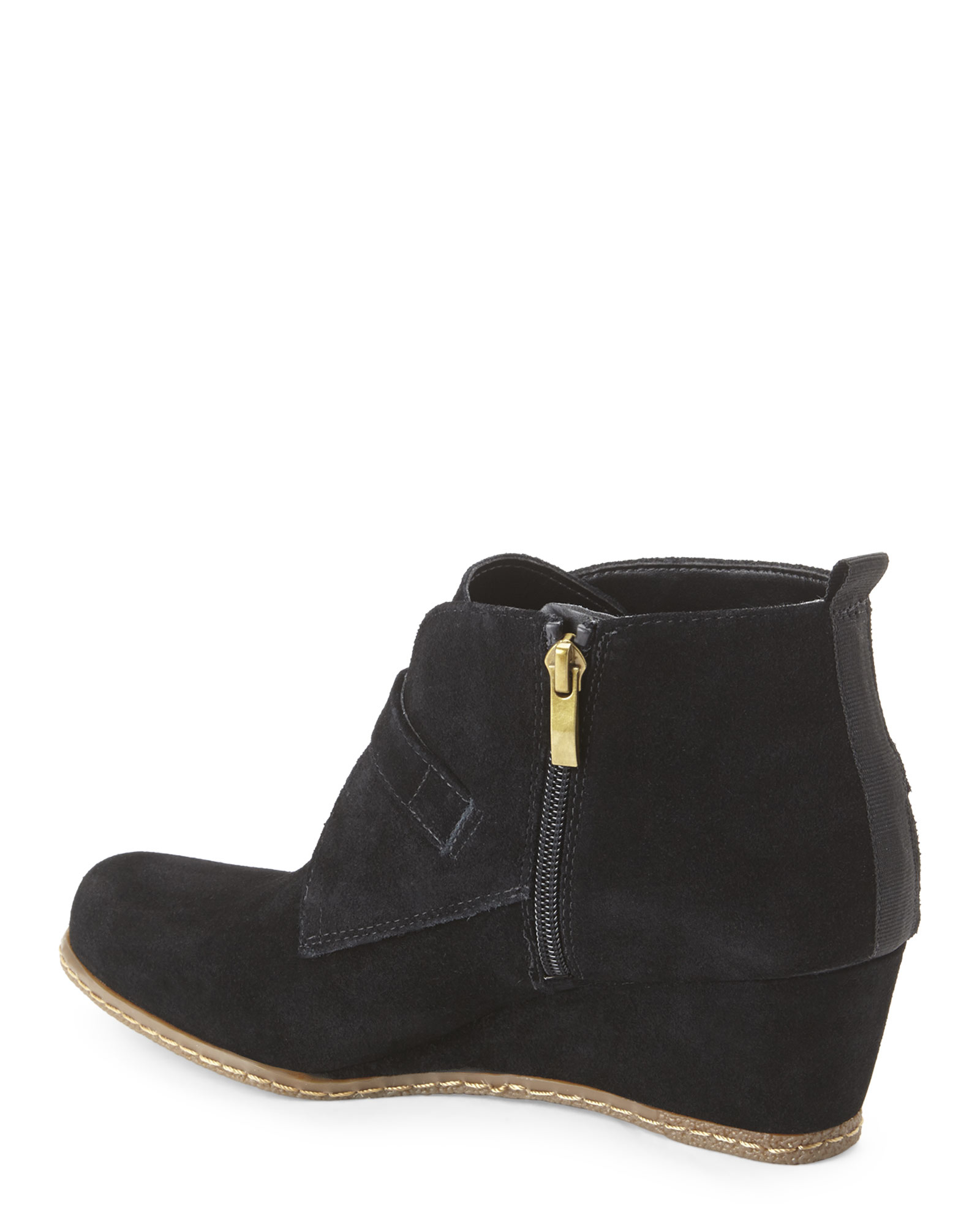 franco sarto black amerosa wedge boots in black lyst