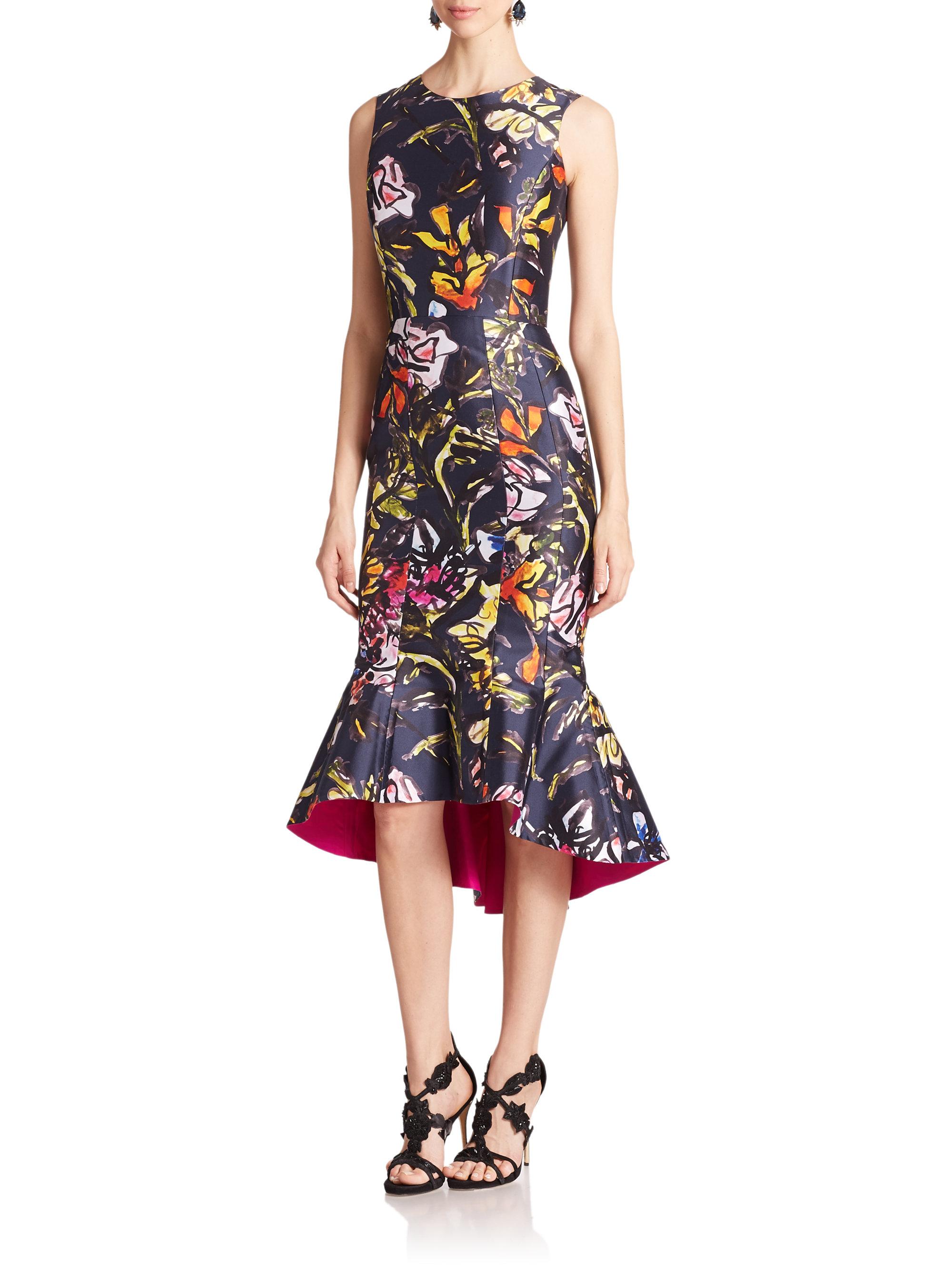 Oscar De La Renta Floral Silk Mikado Dress In Gray Lyst