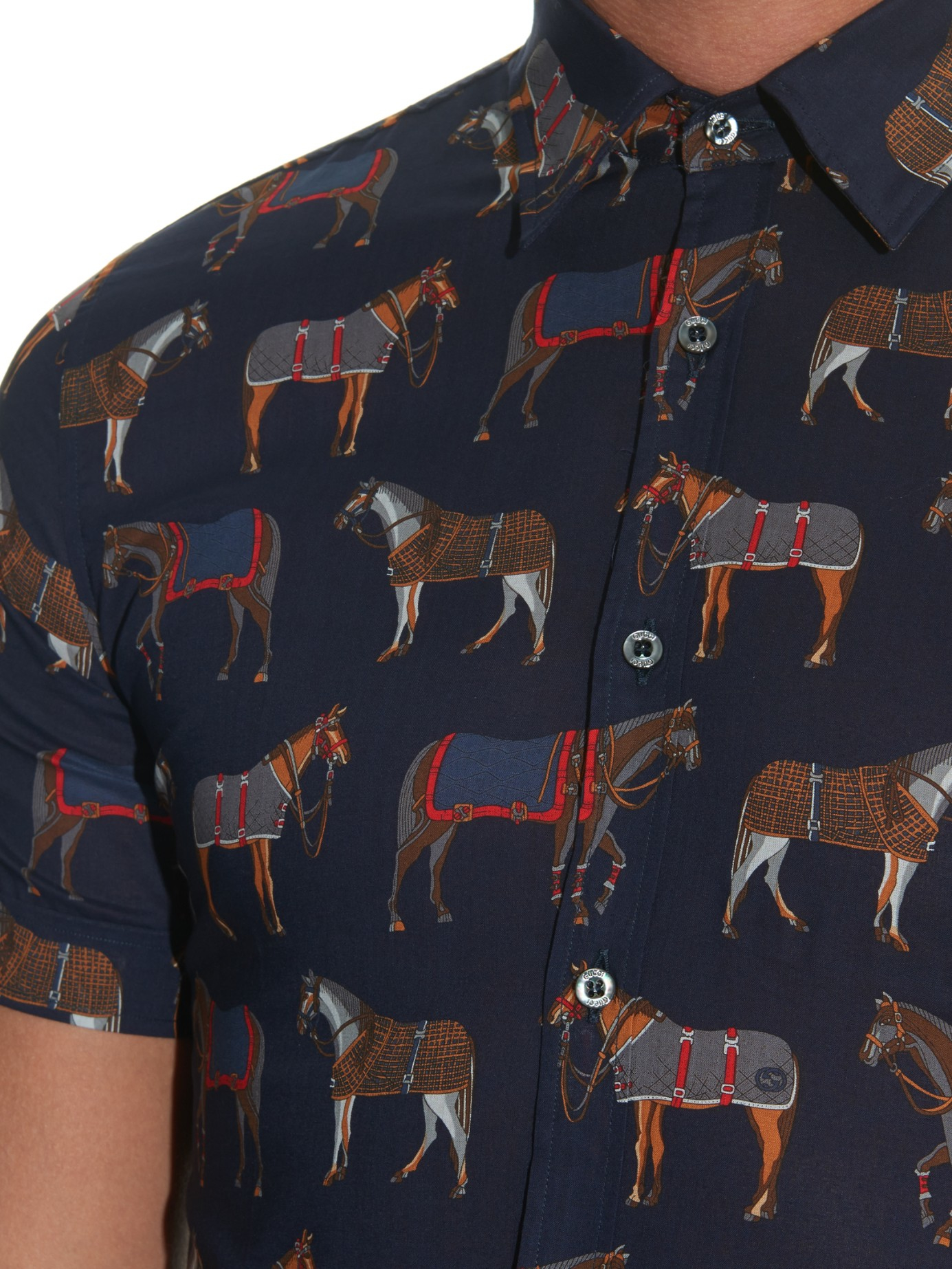 Lyst Gucci Horse Print Cotton Shirt In Blue For Men