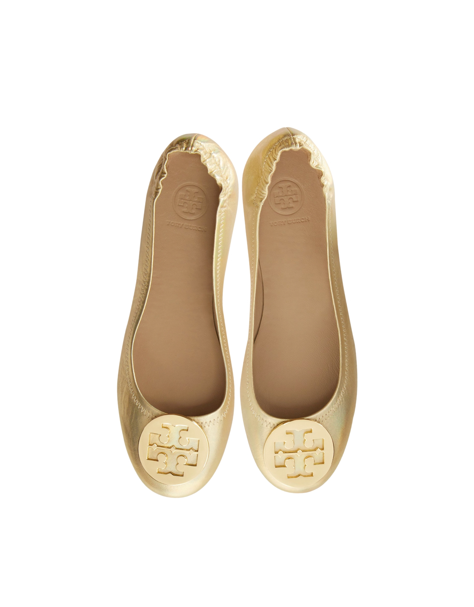 b7fba5d6c3d4 Lyst - Tory Burch Minnie Leather Travel Ballet Flats in Natural