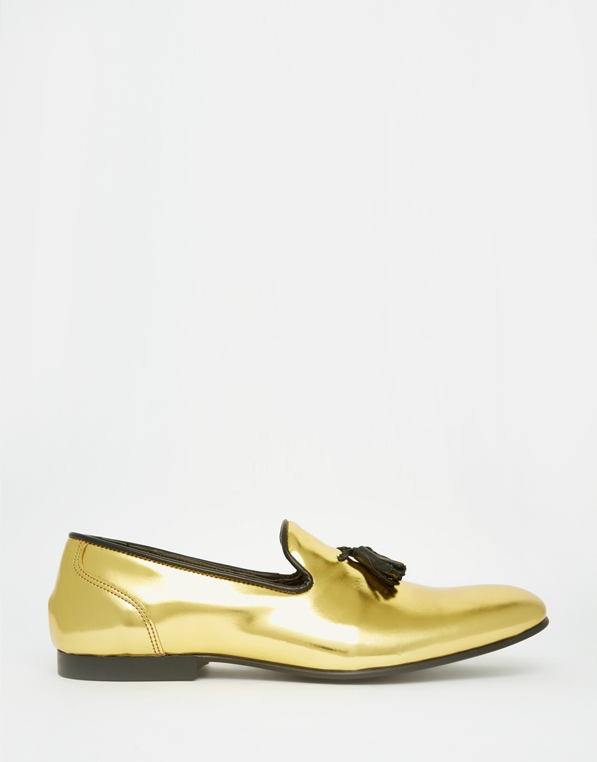 a2a9ca279e0 Lyst - ASOS Tassel Loafers In Metallic Gold Leather in Metallic for Men