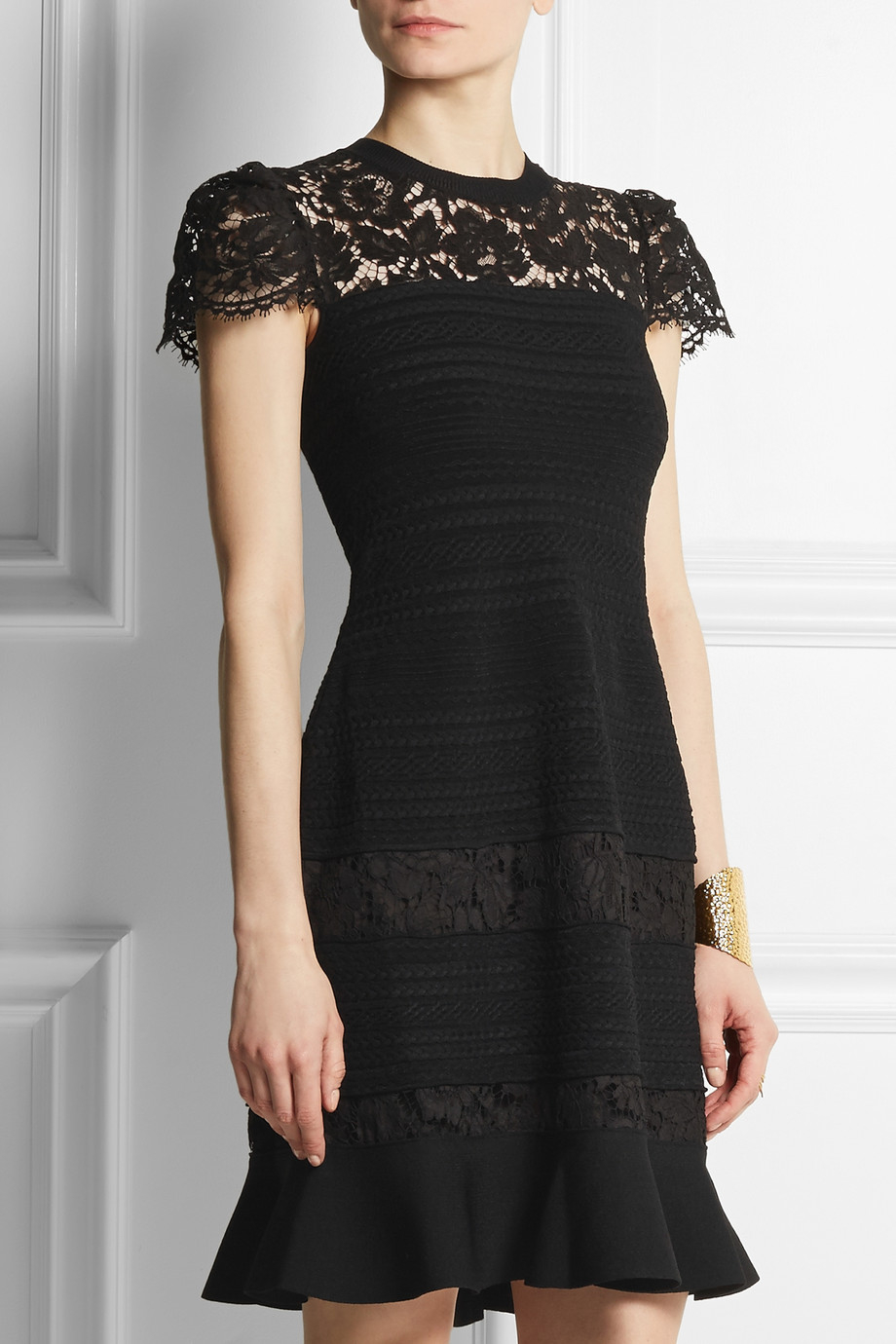 Valentino Woman Lace-paneled Wool And Silk-blend Dress Black Size 42 Valentino Free Shipping Pay With Visa Factory Outlet Online Outlet Geniue Stockist RquiiI0